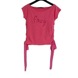 ☘️3/$30☘️ FOXY Pink SS Embroidered Tee Shirt XS